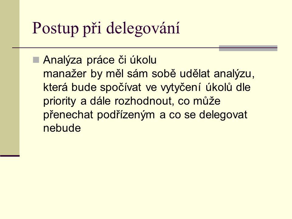 Postup při delegování Analýza práce či úkolu manažer by měl sám sobě udělat analýzu, která bude spočívat ve vytyčení úkolů dle priority a dále rozhodn