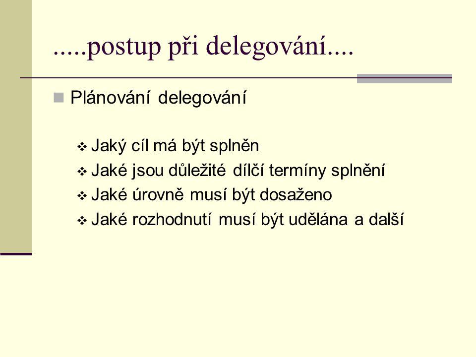 .....postup při delegování.... Plánování delegování  Jaký cíl má být splněn  Jaké jsou důležité dílčí termíny splnění  Jaké úrovně musí být dosažen