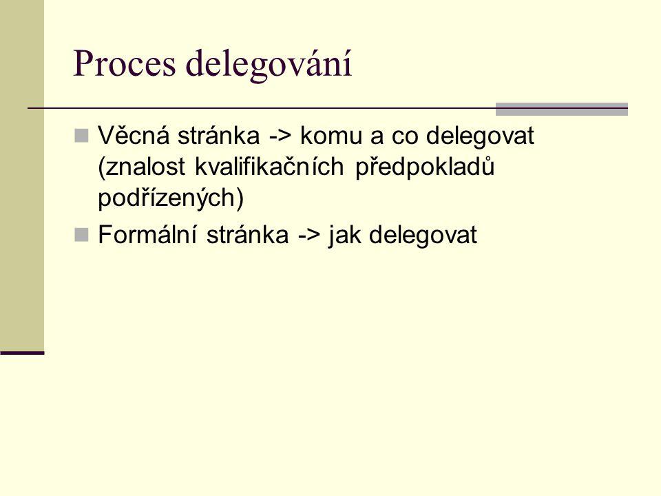 Proces delegování Věcná stránka -> komu a co delegovat (znalost kvalifikačních předpokladů podřízených) Formální stránka -> jak delegovat