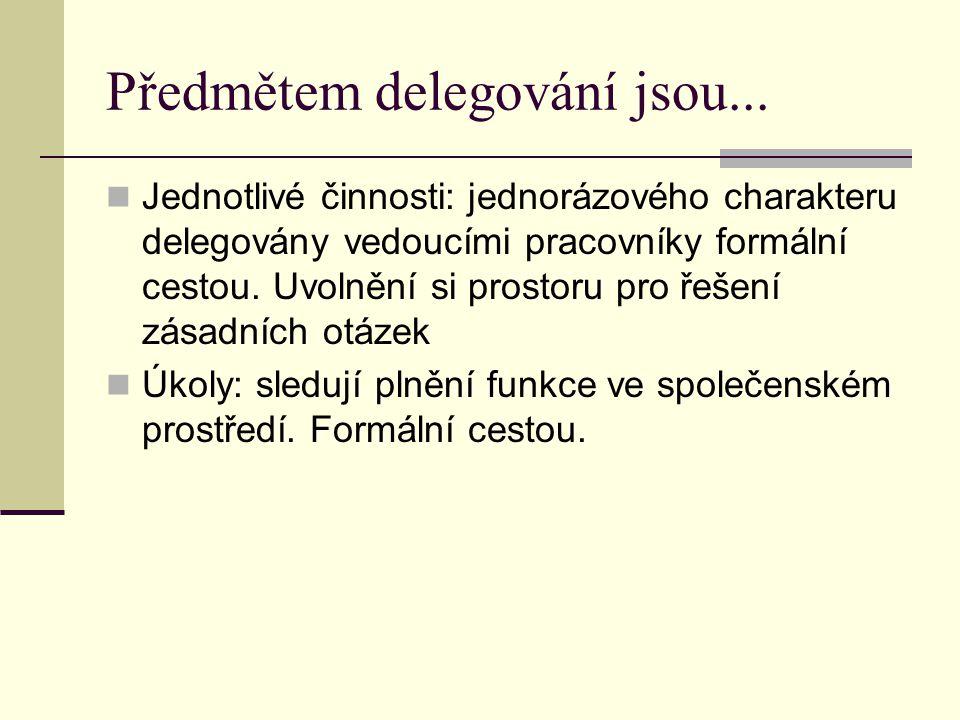 Předmětem delegování jsou... Jednotlivé činnosti: jednorázového charakteru delegovány vedoucími pracovníky formální cestou. Uvolnění si prostoru pro ř