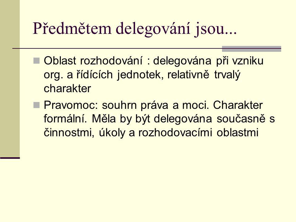 Předmětem delegování jsou... Oblast rozhodování : delegována při vzniku org. a řídících jednotek, relativně trvalý charakter Pravomoc: souhrn práva a