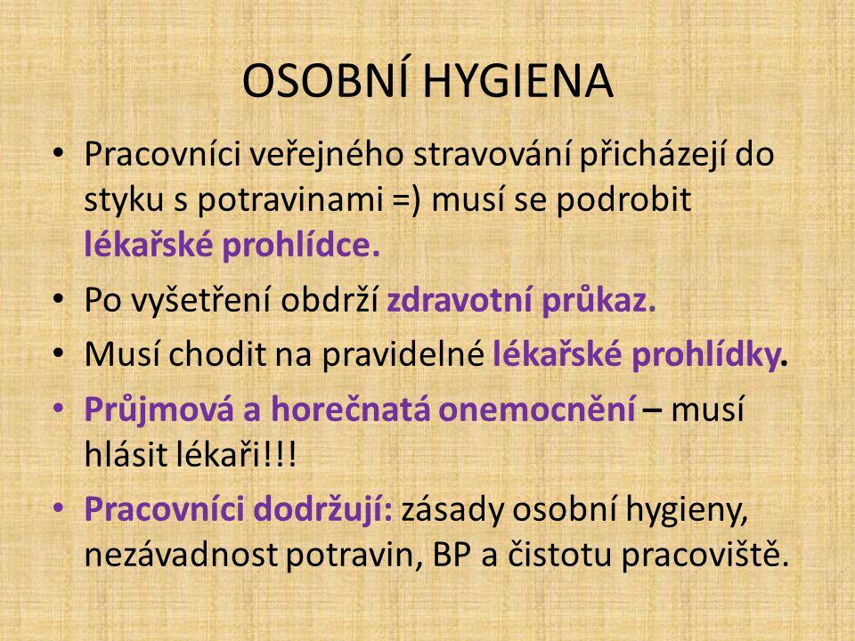 OSOBNÍ HYGIENA Zásady osobní hygieny: Dbát na čistotu těla a dutiny ústní.