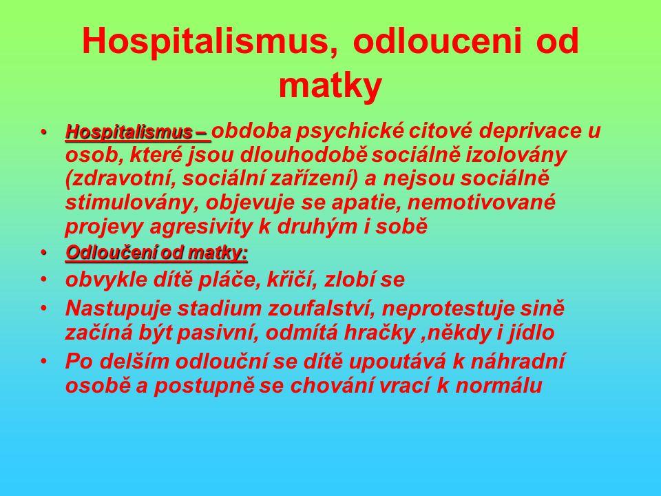 Hospitalismus, odlouceni od matky Hospitalismus –Hospitalismus – obdoba psychické citové deprivace u osob, které jsou dlouhodobě sociálně izolovány (zdravotní, sociální zařízení) a nejsou sociálně stimulovány, objevuje se apatie, nemotivované projevy agresivity k druhým i sobě Odloučení od matky:Odloučení od matky: obvykle dítě pláče, křičí, zlobí se Nastupuje stadium zoufalství, neprotestuje sině začíná být pasivní, odmítá hračky,někdy i jídlo Po delším odlouční se dítě upoutává k náhradní osobě a postupně se chování vrací k normálu