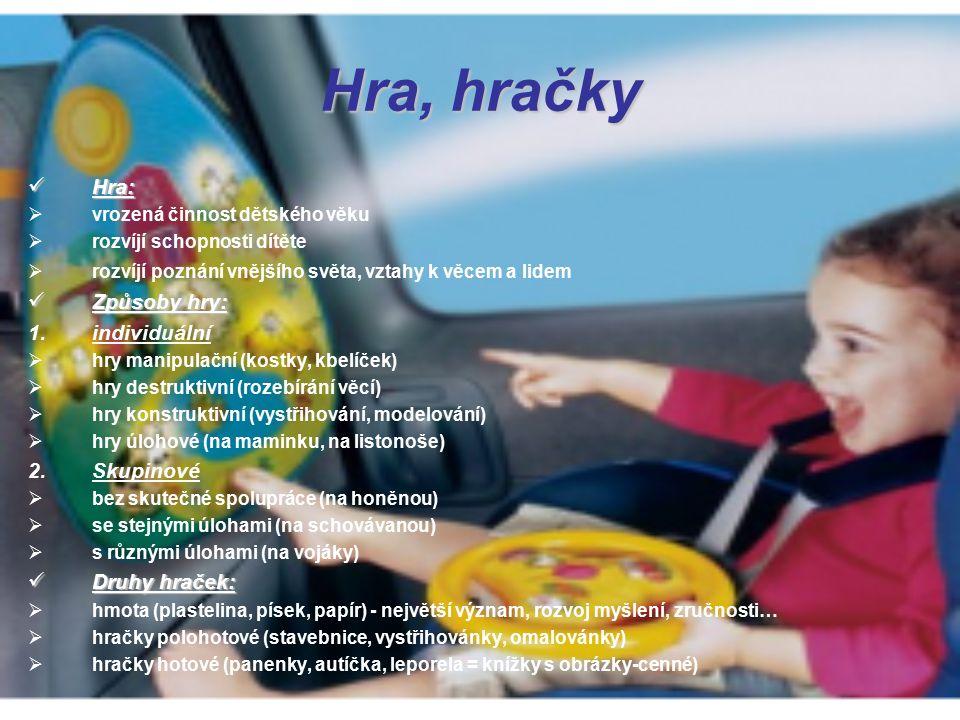 Hra, hračky Hra: Hra:  vrozená činnost dětského věku  rozvíjí schopnosti dítěte  rozvíjí poznání vnějšího světa, vztahy k věcem a lidem Způsoby hry: Způsoby hry: 1.individuální  hry manipulační (kostky, kbelíček)  hry destruktivní (rozebírání věcí)  hry konstruktivní (vystřihování, modelování)  hry úlohové (na maminku, na listonoše) 2.Skupinové  bez skutečné spolupráce (na honěnou)  se stejnými úlohami (na schovávanou)  s různými úlohami (na vojáky) Druhy hraček: Druhy hraček:  hmota (plastelina, písek, papír) - největší význam, rozvoj myšlení, zručnosti…  hračky polohotové (stavebnice, vystřihovánky, omalovánky)  hračky hotové (panenky, autíčka, leporela = knížky s obrázky-cenné)
