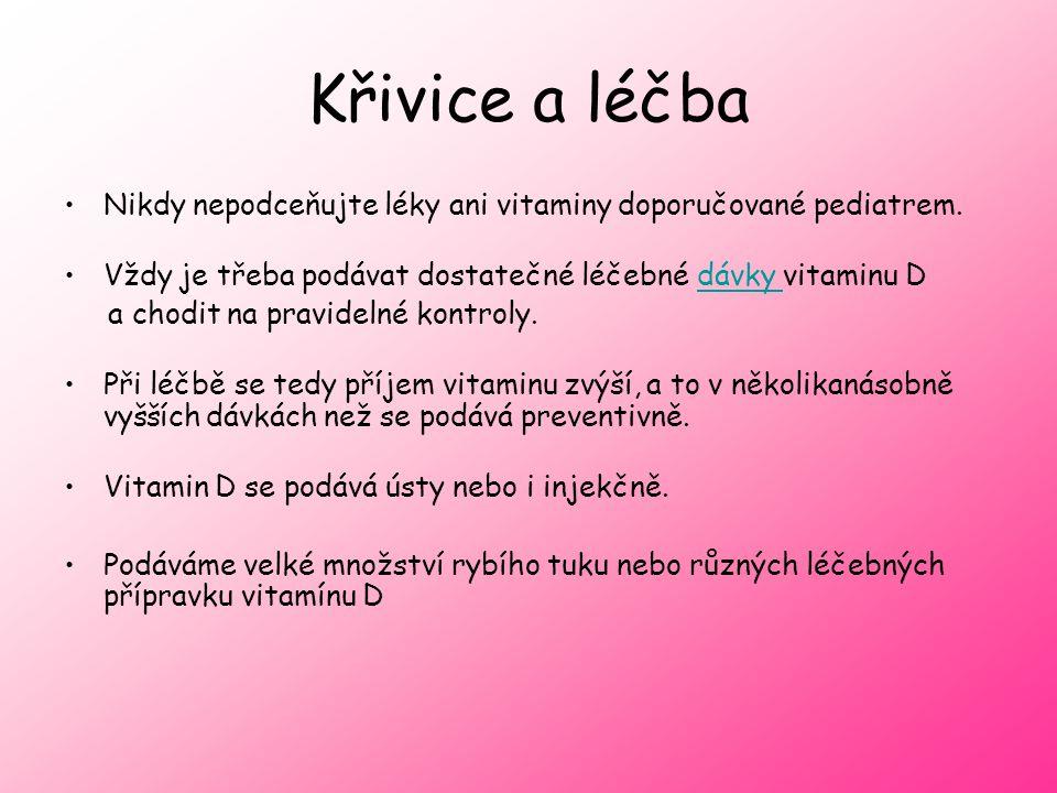 Křivice a léčba Nikdy nepodceňujte léky ani vitaminy doporučované pediatrem.