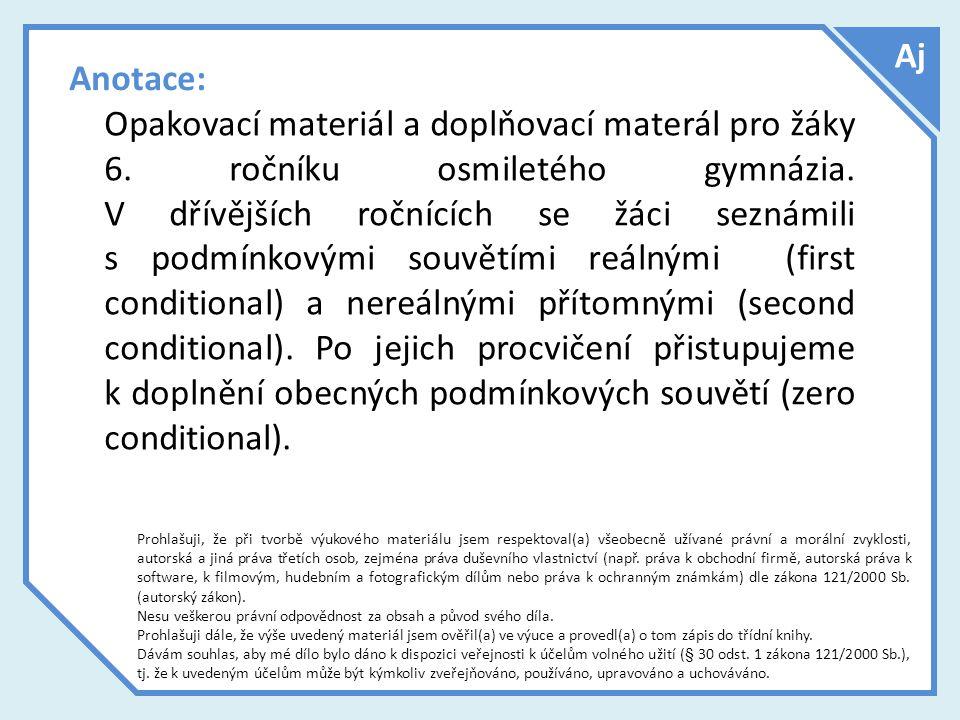 Anotace: Opakovací materiál a doplňovací materál pro žáky 6.
