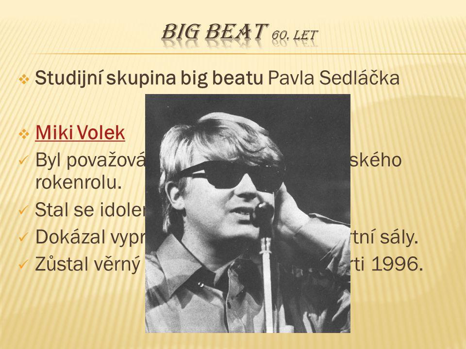  Studijní skupina big beatu Pavla Sedláčka  Miki Volek Miki Volek Byl považován za největší hvězdu českého rokenrolu. Stal se idolem mladých. Dokáza