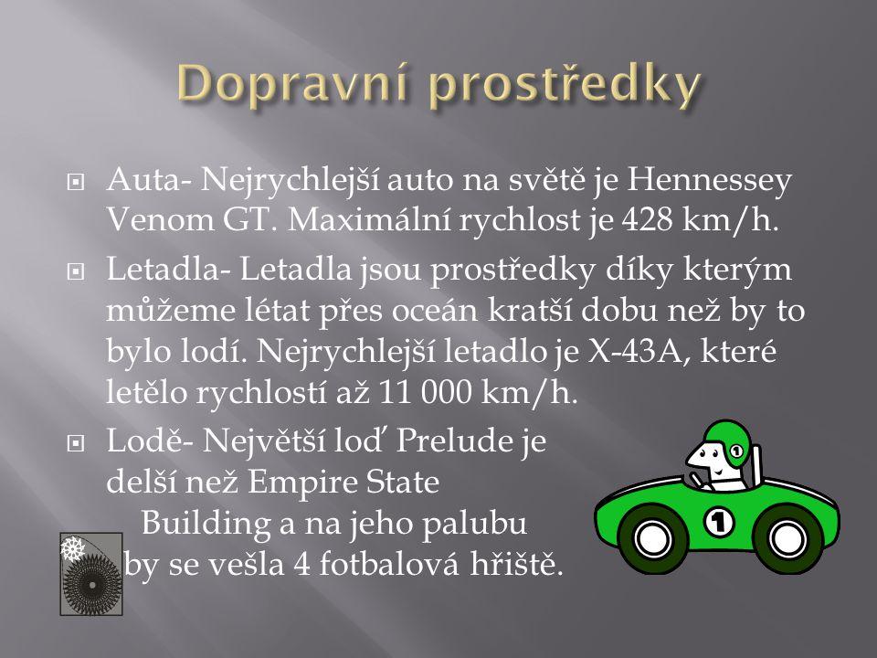  Auta- Nejrychlejší auto na světě je Hennessey Venom GT. Maximální rychlost je 428 km/h.  Letadla- Letadla jsou prostředky díky kterým můžeme létat