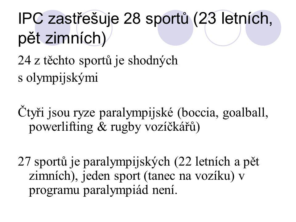 IPC zastřešuje 28 sportů (23 letních, pět zimních) 24 z těchto sportů je shodných s olympijskými Čtyři jsou ryze paralympijské (boccia, goalball, powe