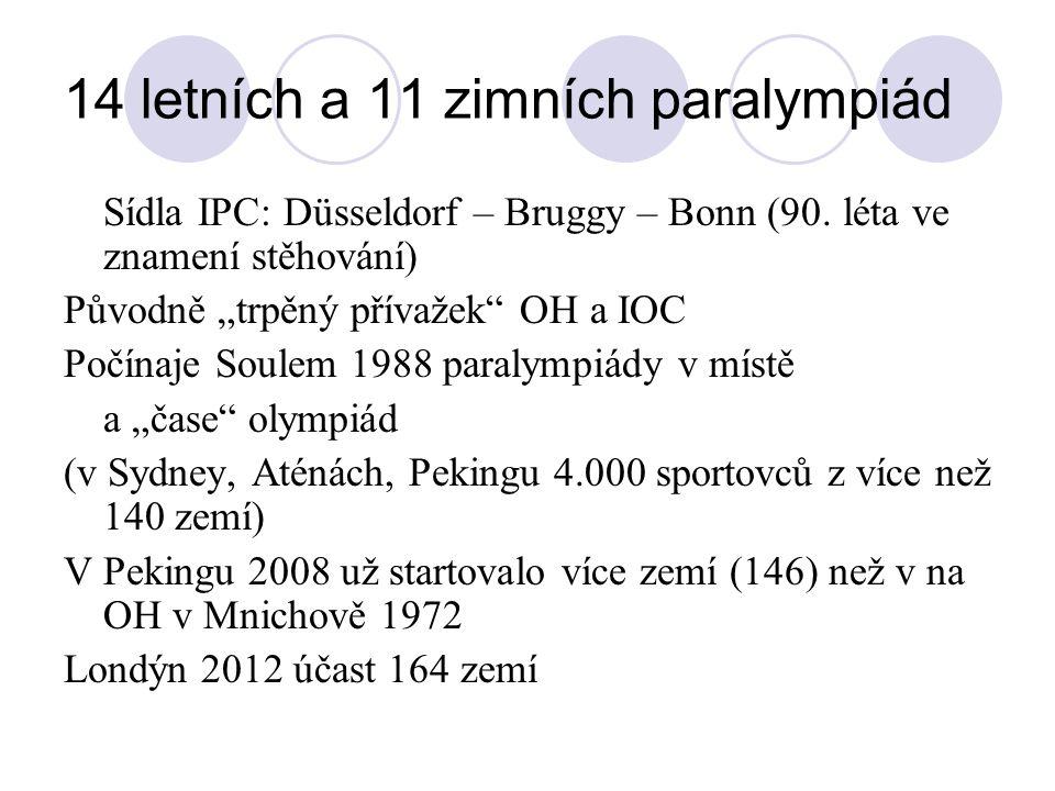 """14 letních a 11 zimních paralympiád Sídla IPC: Düsseldorf – Bruggy – Bonn (90. léta ve znamení stěhování) Původně """"trpěný přívažek"""" OH a IOC Počínaje"""