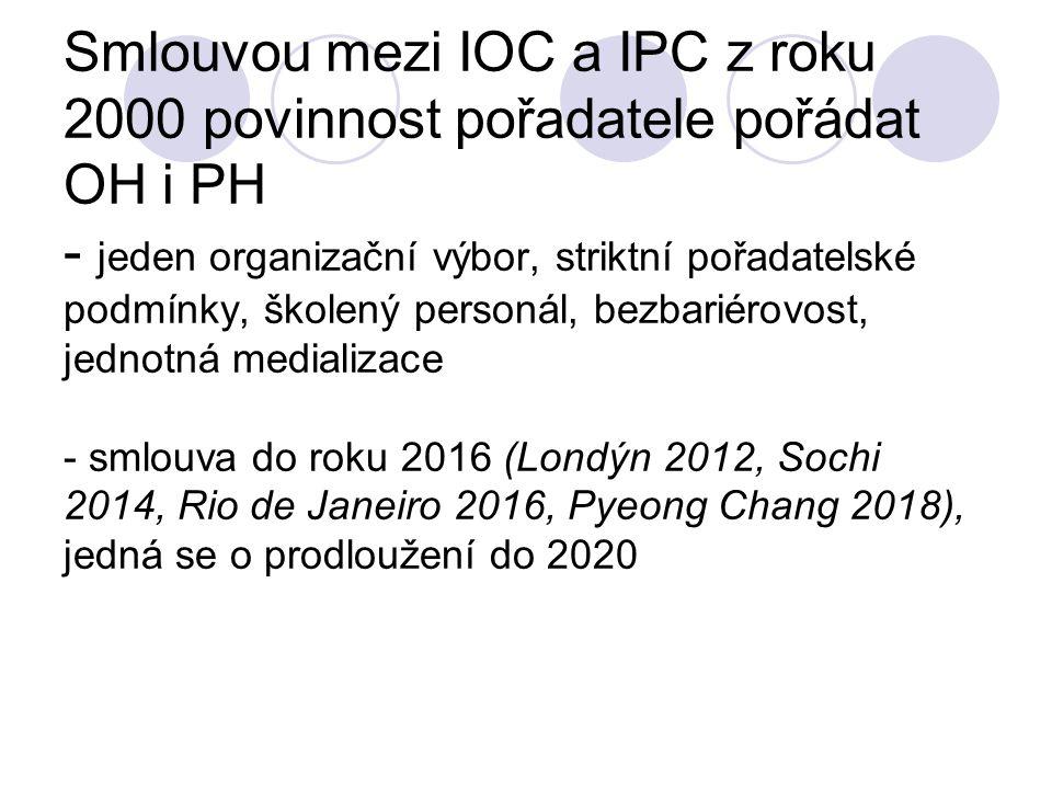 Smlouvou mezi IOC a IPC z roku 2000 povinnost pořadatele pořádat OH i PH - jeden organizační výbor, striktní pořadatelské podmínky, školený personál,