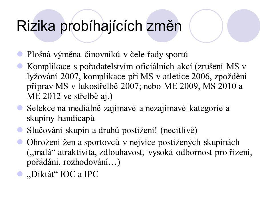 Rizika probíhajících změn Plošná výměna činovníků v čele řady sportů Komplikace s pořadatelstvím oficiálních akcí (zrušení MS v lyžování 2007, komplik