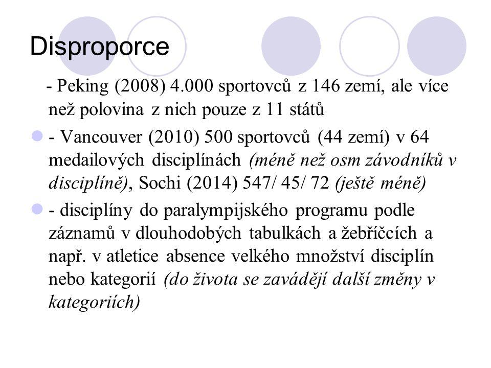 Disproporce - Peking (2008) 4.000 sportovců z 146 zemí, ale více než polovina z nich pouze z 11 států - Vancouver (2010) 500 sportovců (44 zemí) v 64