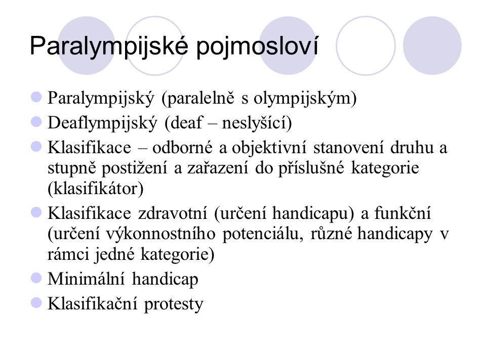 Paralympijské pojmosloví Paralympijský (paralelně s olympijským) Deaflympijský (deaf – neslyšící) Klasifikace – odborné a objektivní stanovení druhu a