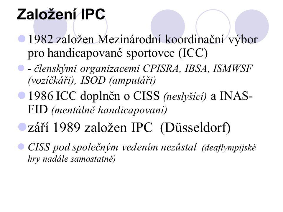 Založení IPC 1982 založen Mezinárodní koordinační výbor pro handicapované sportovce (ICC) - členskými organizacemi CPISRA, IBSA, ISMWSF (vozíčkáři), I