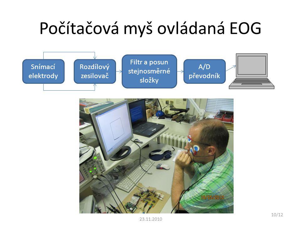 Počítačová myš ovládaná EOG Snímací elektrody Rozdílový zesilovač Filtr a posun stejnosměrné složky A/D převodník 10/12 23.11.2010