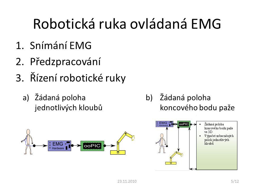 Robotická ruka ovládaná EMG 1.Snímání EMG 2.Předzpracování 3.Řízení robotické ruky b) Žádaná poloha koncového bodu paže a)Žádaná poloha jednotlivých k