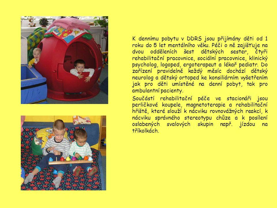 K dennímu pobytu v DDRS jsou přijímány děti od 1 roku do 5 let mentálního věku. Péči o ně zajišťuje na dvou odděleních šest dětských sester, čtyři reh