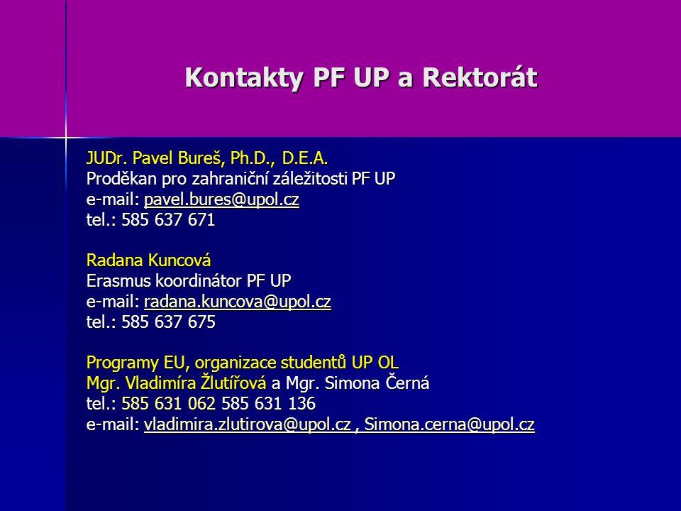Kontakty PF UP a Rektorát JUDr. Pavel Bureš, Ph.D., D.E.A.