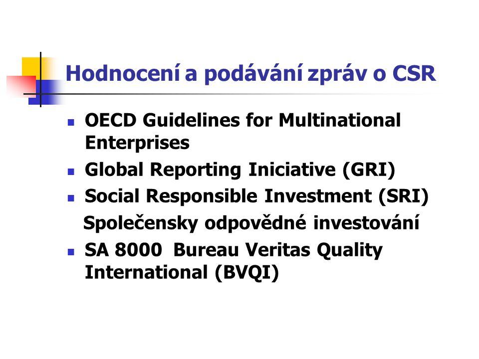 Hodnocení a podávání zpráv o CSR OECD Guidelines for Multinational Enterprises Global Reporting Iniciative (GRI) Social Responsible Investment (SRI) S