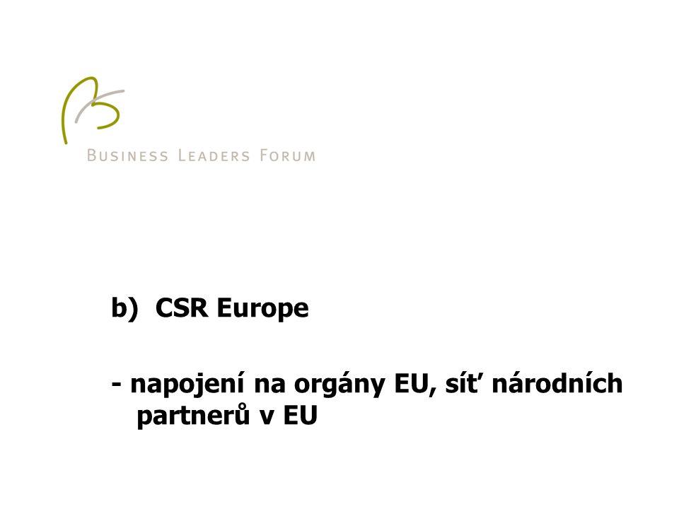 b) CSR Europe - napojení na orgány EU, síť národních partnerů v EU