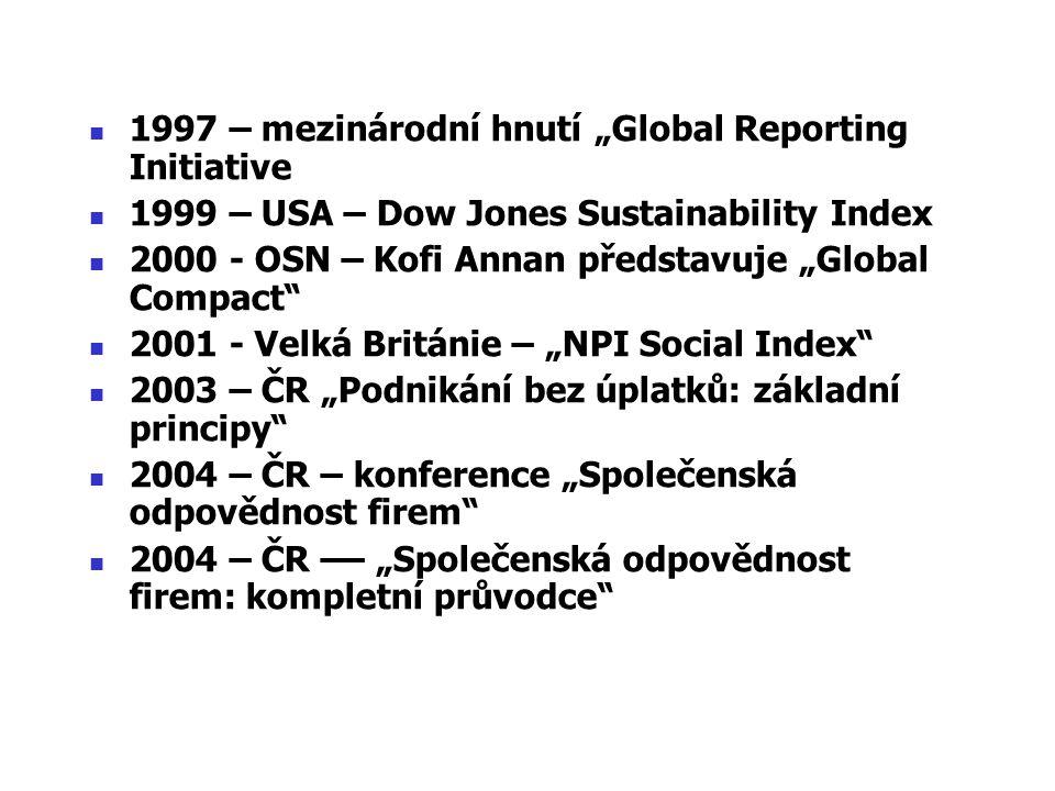 """1997 – mezinárodní hnutí """"Global Reporting Initiative 1999 – USA – Dow Jones Sustainability Index 2000 - OSN – Kofi Annan představuje """"Global Compact"""""""