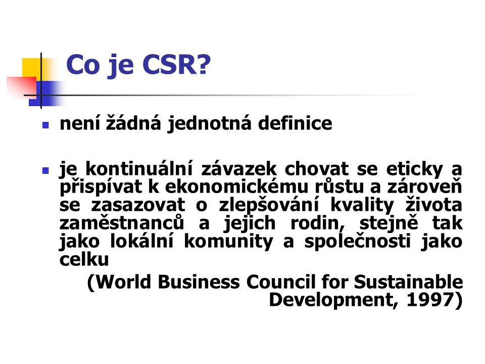 Co je CSR? není žádná jednotná definice je kontinuální závazek chovat se eticky a přispívat k ekonomickému růstu a zároveň se zasazovat o zlepšování k
