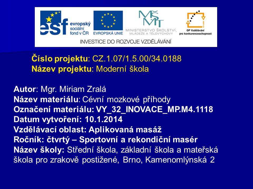 Číslo projektu: CZ.1.07/1.5.00/34.0188 Název projektu: Moderní škola Autor: Mgr. Miriam Zralá Název materiálu: Cévní mozkové příhody Označení materiál