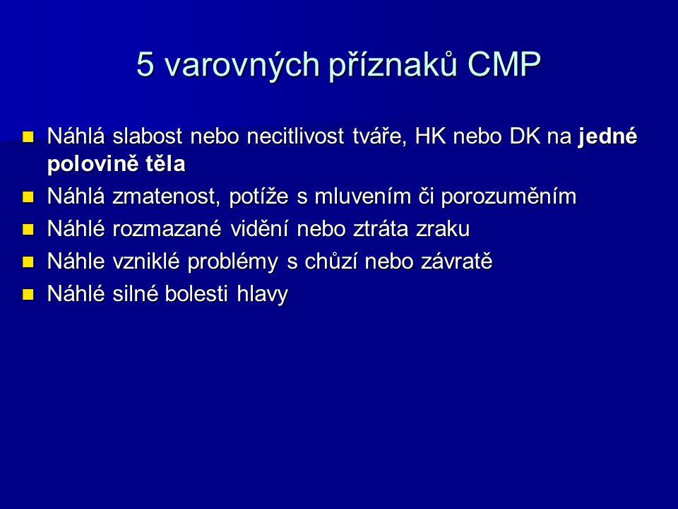 5 varovných příznaků CMP Náhlá slabost nebo necitlivost tváře, HK nebo DK na jedné polovině těla Náhlá slabost nebo necitlivost tváře, HK nebo DK na j