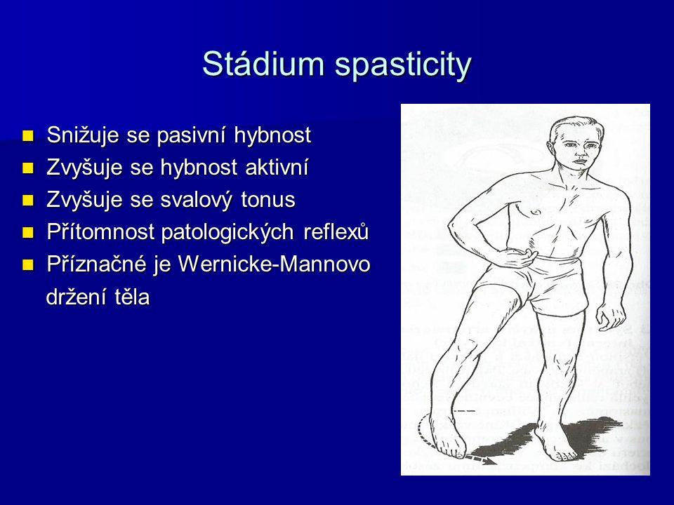 Stádium spasticity Snižuje se pasivní hybnost Snižuje se pasivní hybnost Zvyšuje se hybnost aktivní Zvyšuje se hybnost aktivní Zvyšuje se svalový tonu