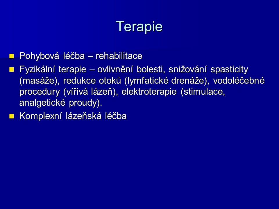 Terapie Pohybová léčba – rehabilitace Pohybová léčba – rehabilitace Fyzikální terapie – ovlivnění bolesti, snižování spasticity (masáže), redukce otok