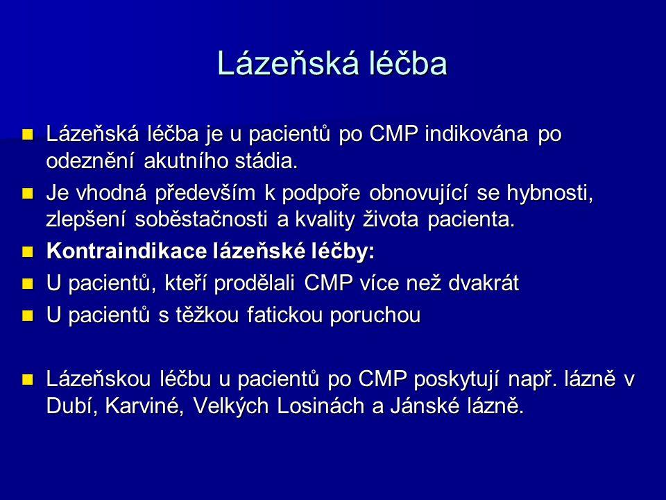 Lázeňská léčba Lázeňská léčba je u pacientů po CMP indikována po odeznění akutního stádia. Lázeňská léčba je u pacientů po CMP indikována po odeznění