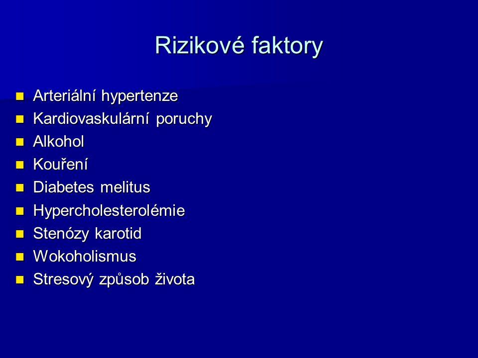 Rizikové faktory Arteriální hypertenze Arteriální hypertenze Kardiovaskulární poruchy Kardiovaskulární poruchy Alkohol Alkohol Kouření Kouření Diabete