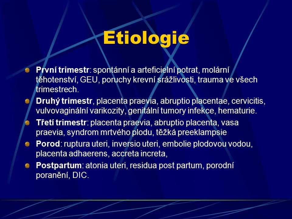 Etiologie První trimestr: spontánní a arteficielní potrat, molární těhotenství, GEU, poruchy krevní srážlivosti, trauma ve všech trimestrech. Druhý tr