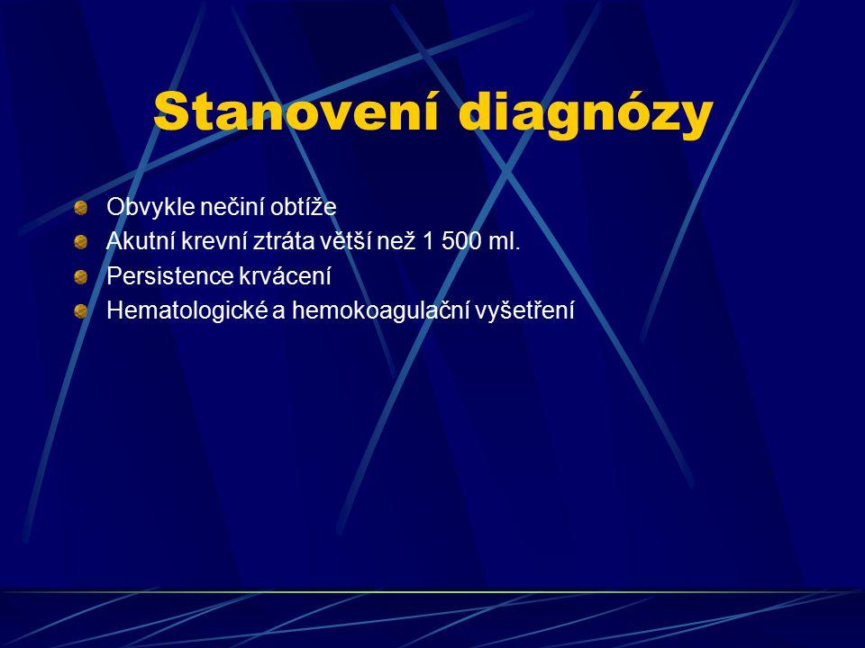 Stanovení diagnózy Obvykle nečiní obtíže Akutní krevní ztráta větší než 1 500 ml. Persistence krvácení Hematologické a hemokoagulační vyšetření