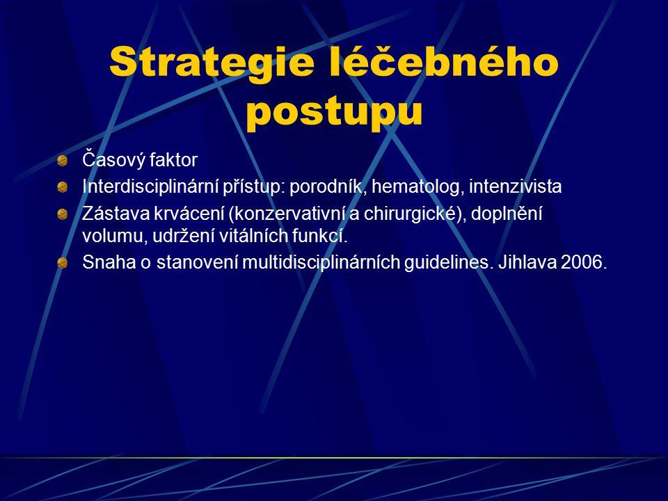 Strategie léčebného postupu Časový faktor Interdisciplinární přístup: porodník, hematolog, intenzivista Zástava krvácení (konzervativní a chirurgické)