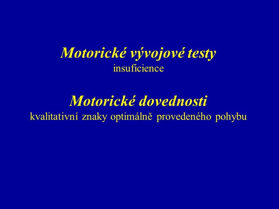"""Motorické vývojové testy motorický věk – ekvivalent stupně motorického vývoje (podřízen vývoji jedince jako celku) OZERECKIJ – motometrická škála (1924) 4 – 16 let, částečná diferenciace dle pohlaví (n=400 pro každý KV) děti normální, mentálně zaostalé a hluchoněmé upozornil na významnou závislost mentálního a motorického vývoje 85 testových úkolů, vždy 6 pro KV binární hodnocení, vzrůstající obtížnost zejména koordinační předpoklady, jemná motorika sestavení dle Binetovy inteligenční stupnice doporučení pro využití v terénní praxi (Horák, 1946) významný podnět pro následné řešení dané problematiky využití i dnes ve školním lékařství (modifikace dle Kárníkové, 1976, Jandy, 1981 – """"orientační posouzení pohybové způsobilosti"""