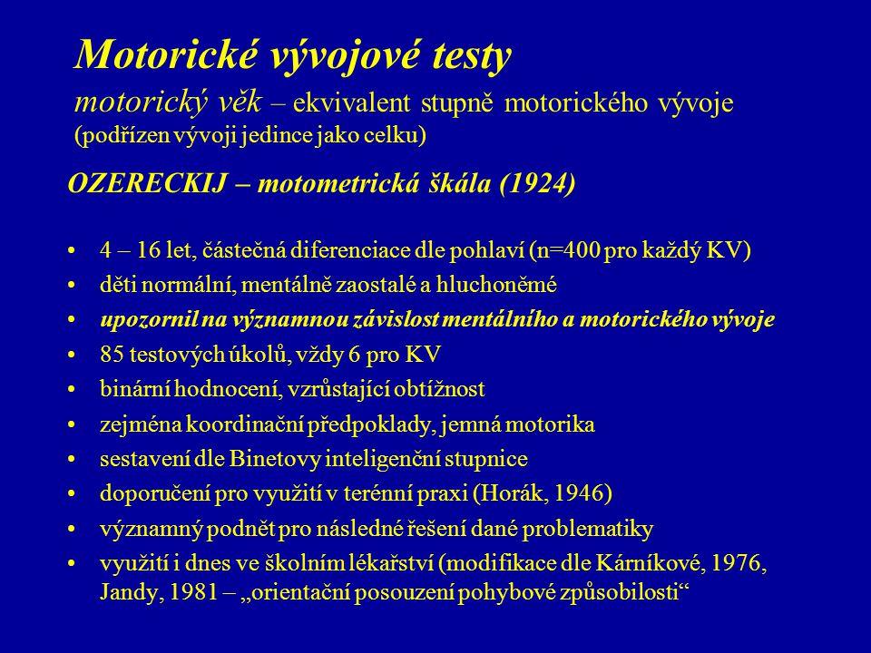 Motorické vývojové testy motorický věk – ekvivalent stupně motorického vývoje (podřízen vývoji jedince jako celku) OZERECKIJ – motometrická škála (192