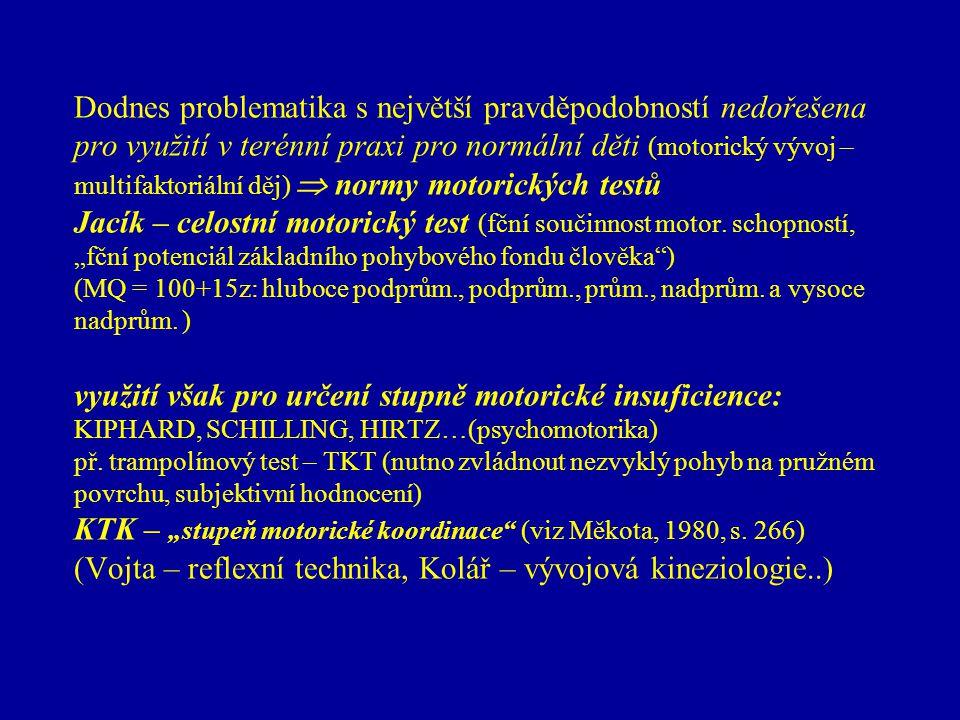 poruchy motoriky (souvisí s celou osobností  individuální pedagogický přístup) příčiny motorické insuficience (nedostatečnosti):  endogenní (mentální postižení, DS…, srdeční vady…, konstituční…, LMD…)  exogenní (funkční, strukturální, hromadná neinfekční onemocnění, VDT…)