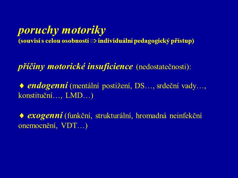 poruchy motoriky (souvisí s celou osobností  individuální pedagogický přístup) příčiny motorické insuficience (nedostatečnosti):  endogenní (mentáln