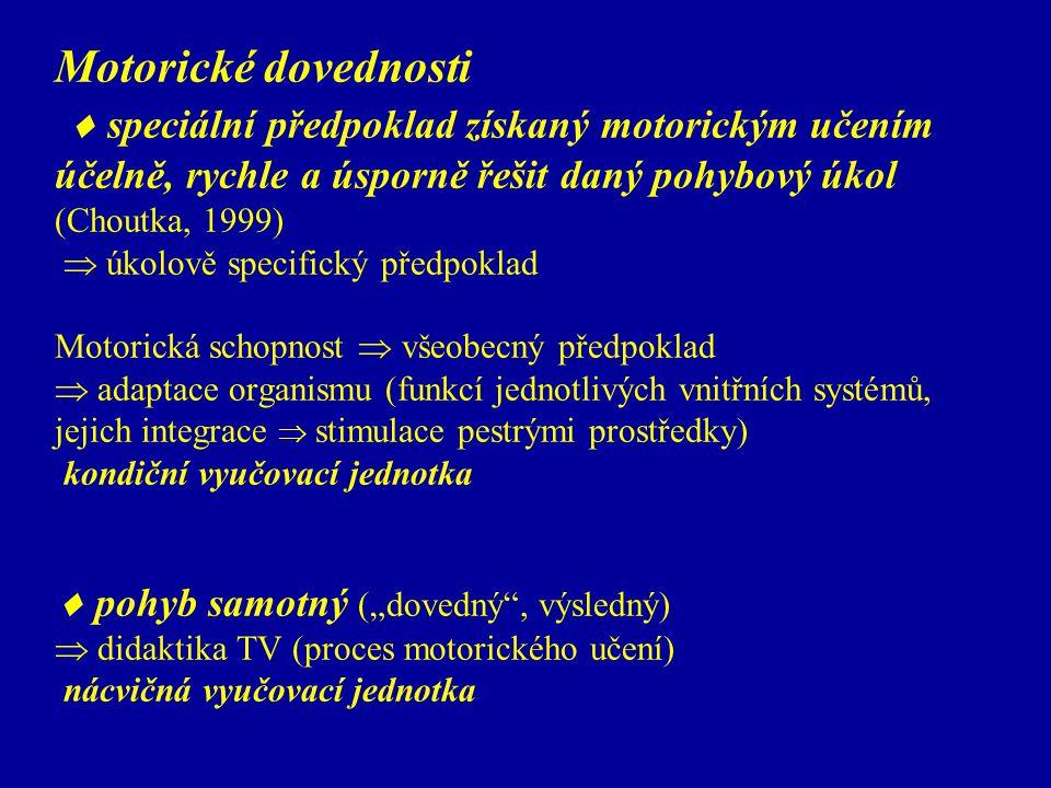 Motorické dovednosti  speciální předpoklad získaný motorickým učením účelně, rychle a úsporně řešit daný pohybový úkol (Choutka, 1999)  úkolově spec