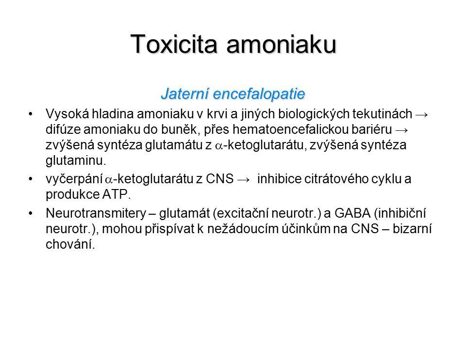 Toxicita amoniaku Jaterní encefalopatie Vysoká hladina amoniaku v krvi a jiných biologických tekutinách → difúze amoniaku do buněk, přes hematoencefal