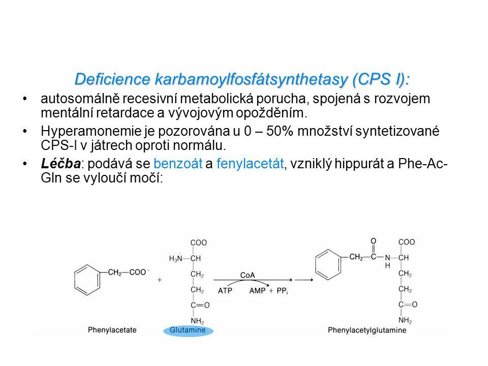 Deficience karbamoylfosfátsynthetasy (CPS I): autosomálně recesivní metabolická porucha, spojená s rozvojem mentální retardace a vývojovým opožděním.