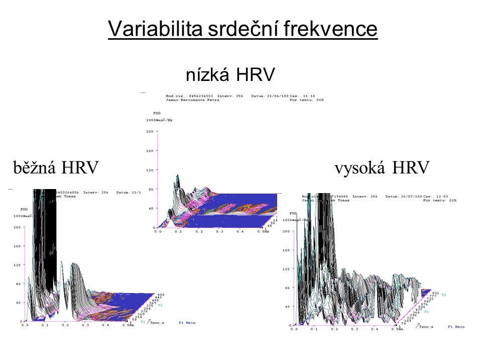 Variabilita srdeční frekvence nízká HRV běžná HRVvysoká HRV