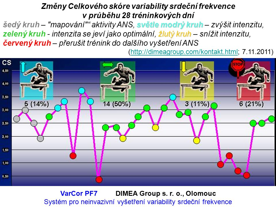 Změny Celkového skóre variability srdeční frekvence v průběhu 28 tréninkových dní světle modrý kruh žlutý kruh šedý kruh – mapování aktivity ANS, světle modrý kruh – zvýšit intenzitu, zelený kruh - intenzita se jeví jako optimální, žlutý kruh – snížit intenzitu, červený kruh – přerušit trénink do dalšího vyšetření ANS (http://dimeagroup.com/kontakt.html; 7.11.2011)http://dimeagroup.com/kontakt.html VarCor PF7DIMEA Group s.