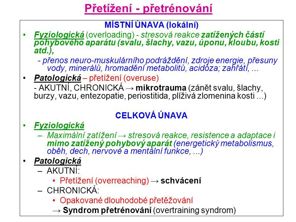 Přetížení - přetrénování MÍSTNÍ ÚNAVA (lokální) Fyziologická (overloading) - stresová reakce zatížených částí pohybového aparátu (svalu, šlachy, vazu, úponu, kloubu, kosti atd.), - přenos neuro-muskulárního podráždění, zdroje energie, přesuny vody, minerálů, hromadění metabolitů, acidóza; zahřátí,...