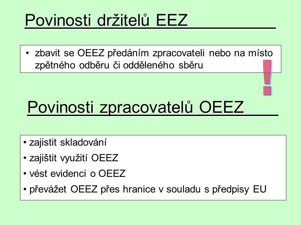 Povinosti držitelů EEZ zbavit se OEEZ předáním zpracovateli nebo na místo zpětného odběru či odděleného sběru zajistit skladování zajištit využití OEE