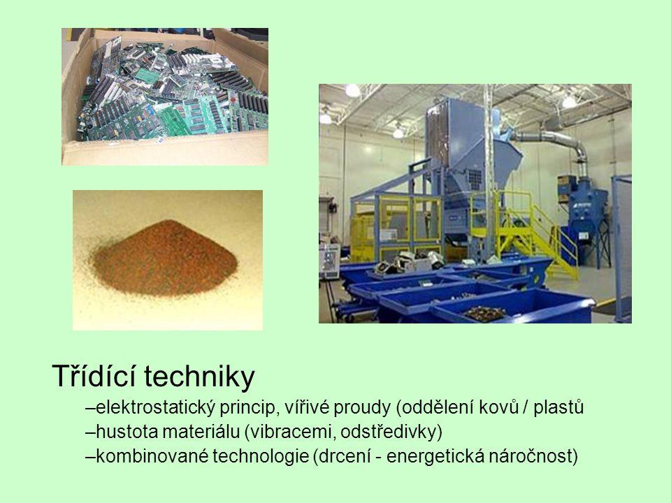 Třídící techniky –elektrostatický princip, vířivé proudy (oddělení kovů / plastů –hustota materiálu (vibracemi, odstředivky) –kombinované technologie