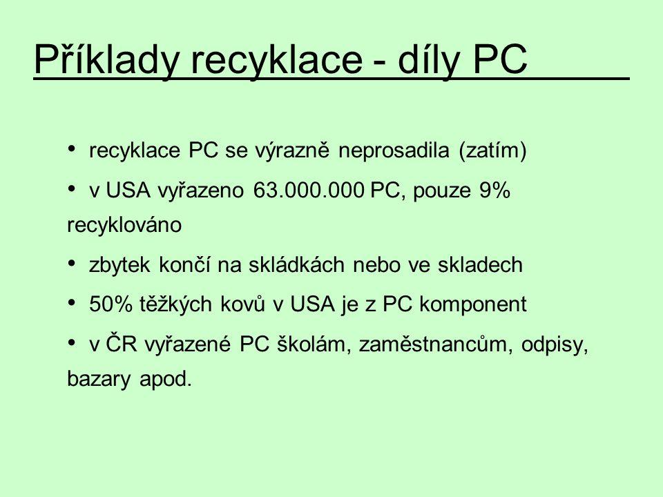 recyklace PC se výrazně neprosadila (zatím) v USA vyřazeno 63.000.000 PC, pouze 9% recyklováno zbytek končí na skládkách nebo ve skladech 50% těžkých