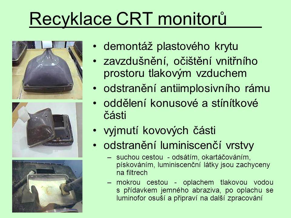 demontáž plastového krytu zavzdušnění, očištění vnitřního prostoru tlakovým vzduchem odstranění antiimplosivního rámu oddělení konusové a stínítkové č